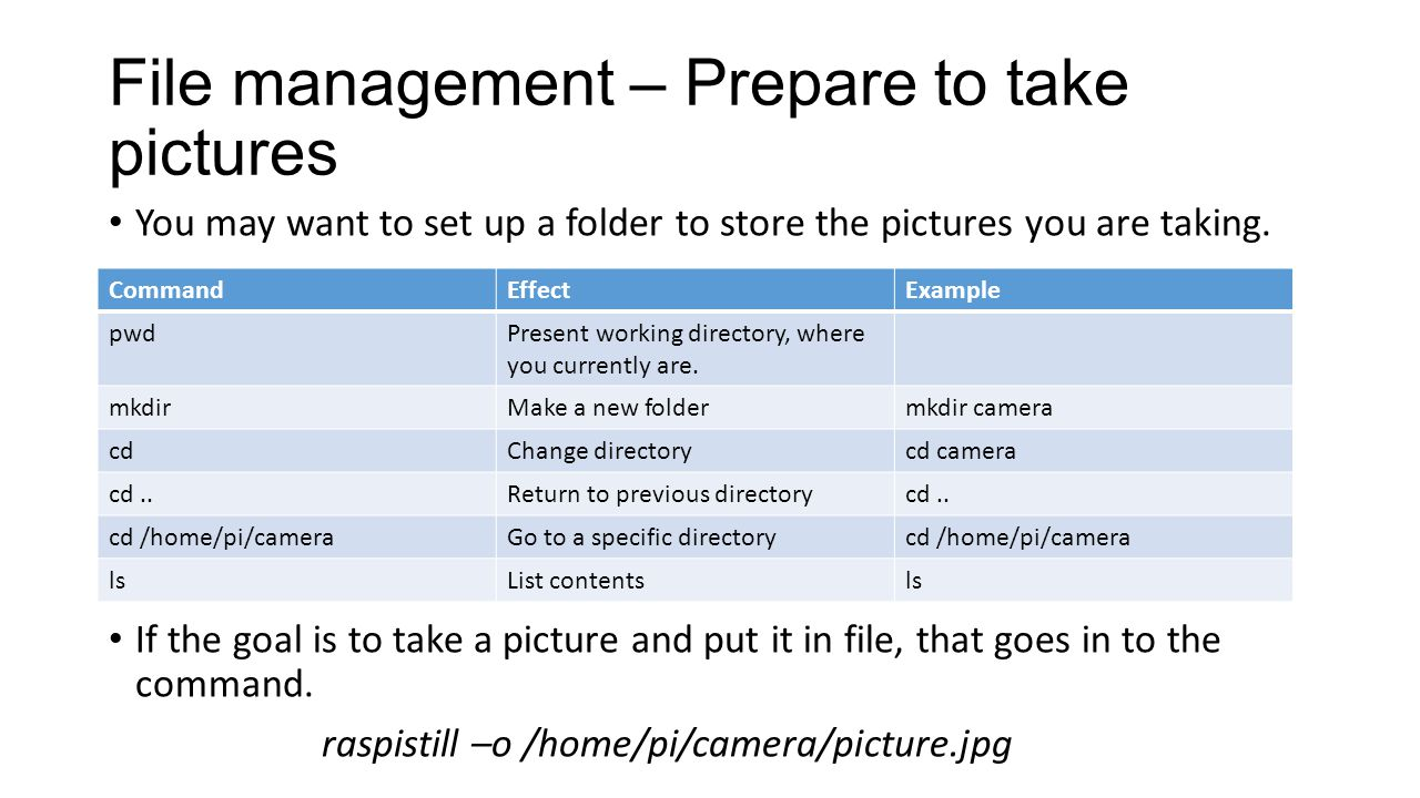 File management – Prepare to take pictures You may want to set up a folder to store the pictures you are taking.