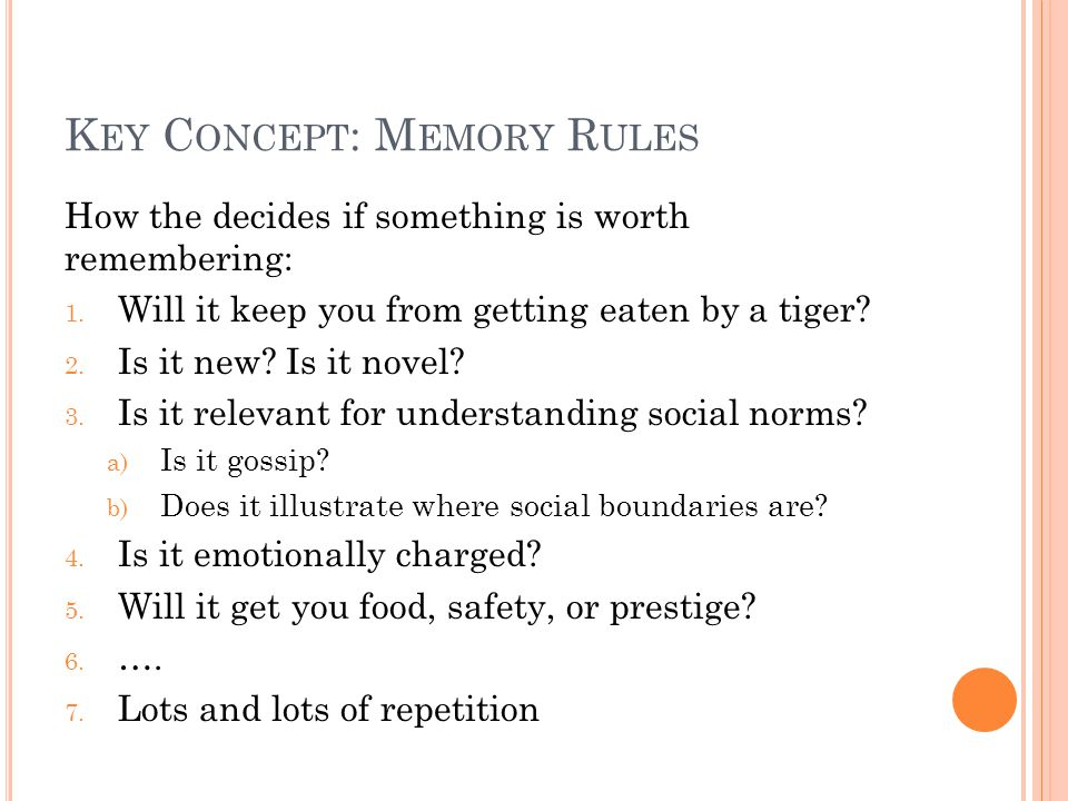 K EY C ONCEPT : M EMORY R ULES How the decides if something is worth remembering: 1.