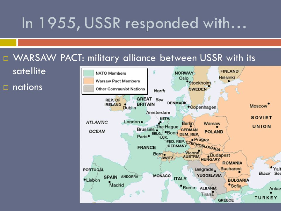 In 1955, USSR responded with… WWARSAW PACT: military alliance between USSR with its satellite nnations