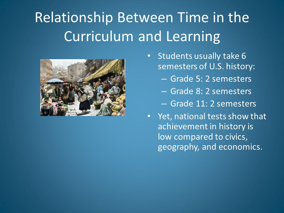 Relationship Between Time in the Curriculum and Learning Students usually take 6 semesters of U.S.