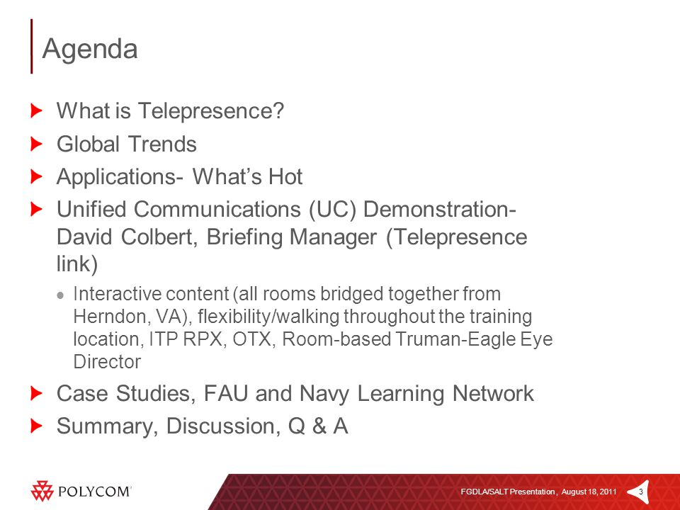 3FGDLA/SALT Presentation, August 18, 2011 Agenda What is Telepresence.