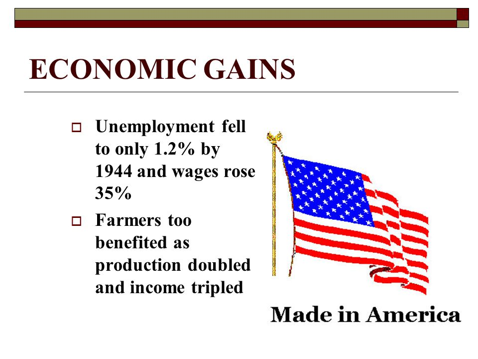 ECONOMIC GAINS  Unemployment fell to only 1.2% by 1944 and wages rose 35%  Farmers too benefited as production doubled and income tripled