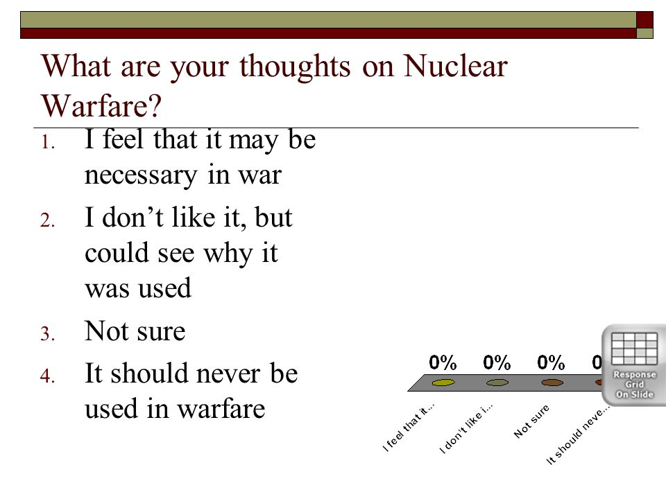 What are your thoughts on Nuclear Warfare. 1. I feel that it may be necessary in war 2.