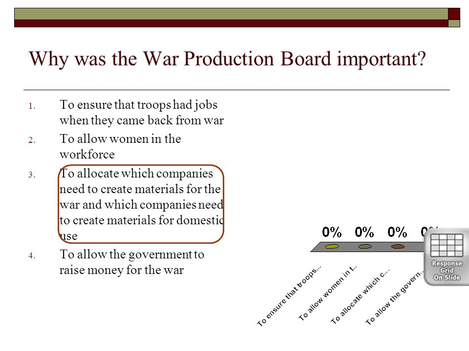 Why was the War Production Board important? 1. To ensure that troops had jobs when they came back from war 2. To allow women in the workforce 3. To al