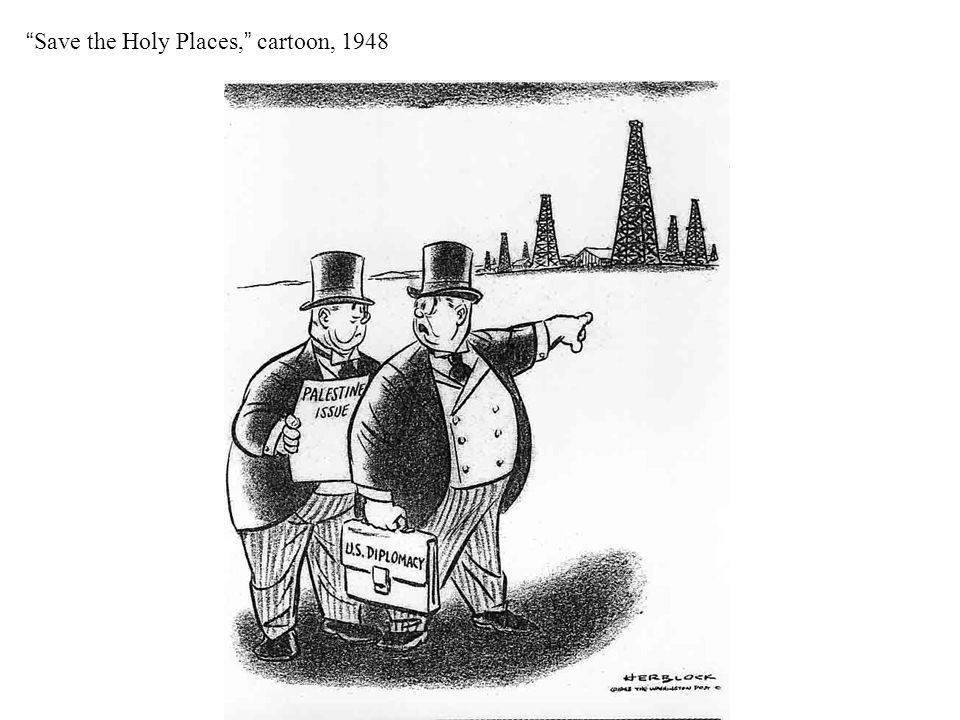 Save the Holy Places, cartoon, 1948