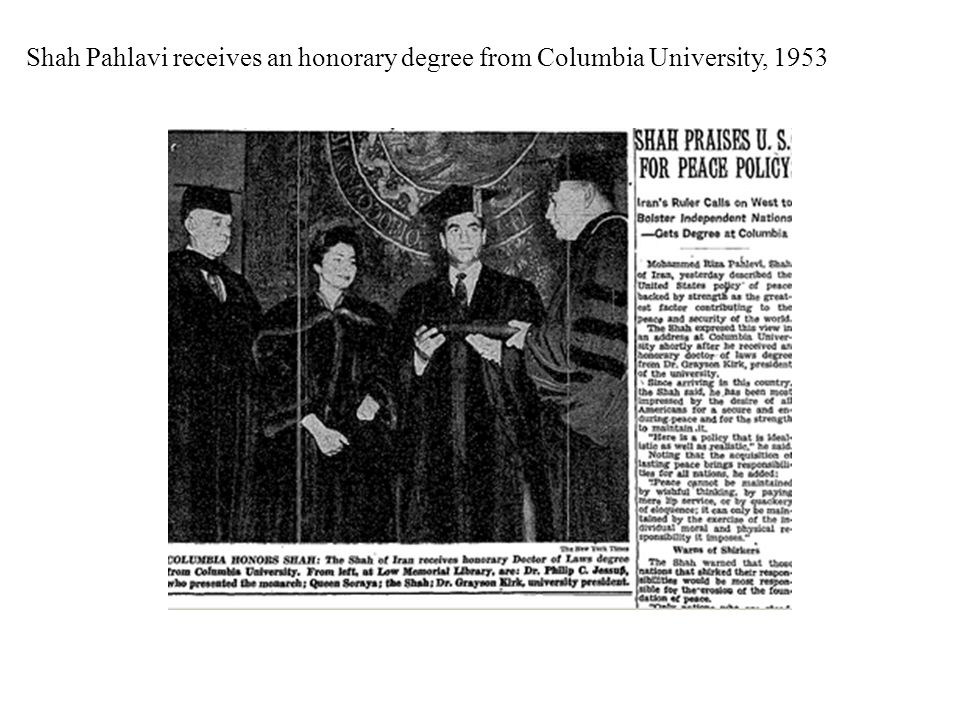 Shah Pahlavi receives an honorary degree from Columbia University, 1953