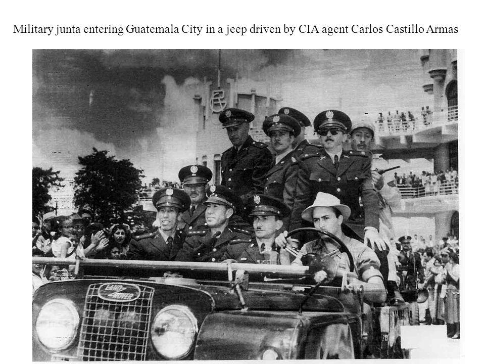 Military junta entering Guatemala City in a jeep driven by CIA agent Carlos Castillo Armas