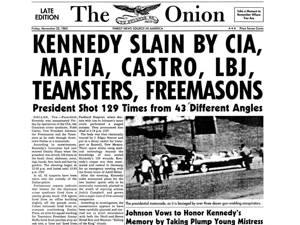 The Onion on Kennedy assassination