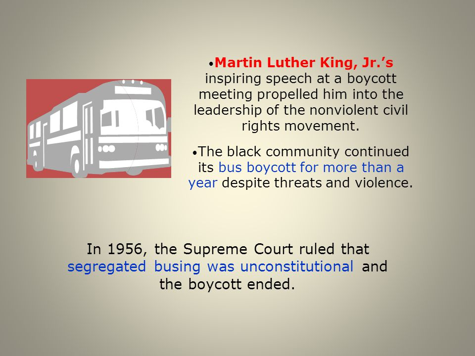 Martin Luther King, Jr.'s inspiring speech at a boycott meeting propelled him into the leadership of the nonviolent civil rights movement. The black c