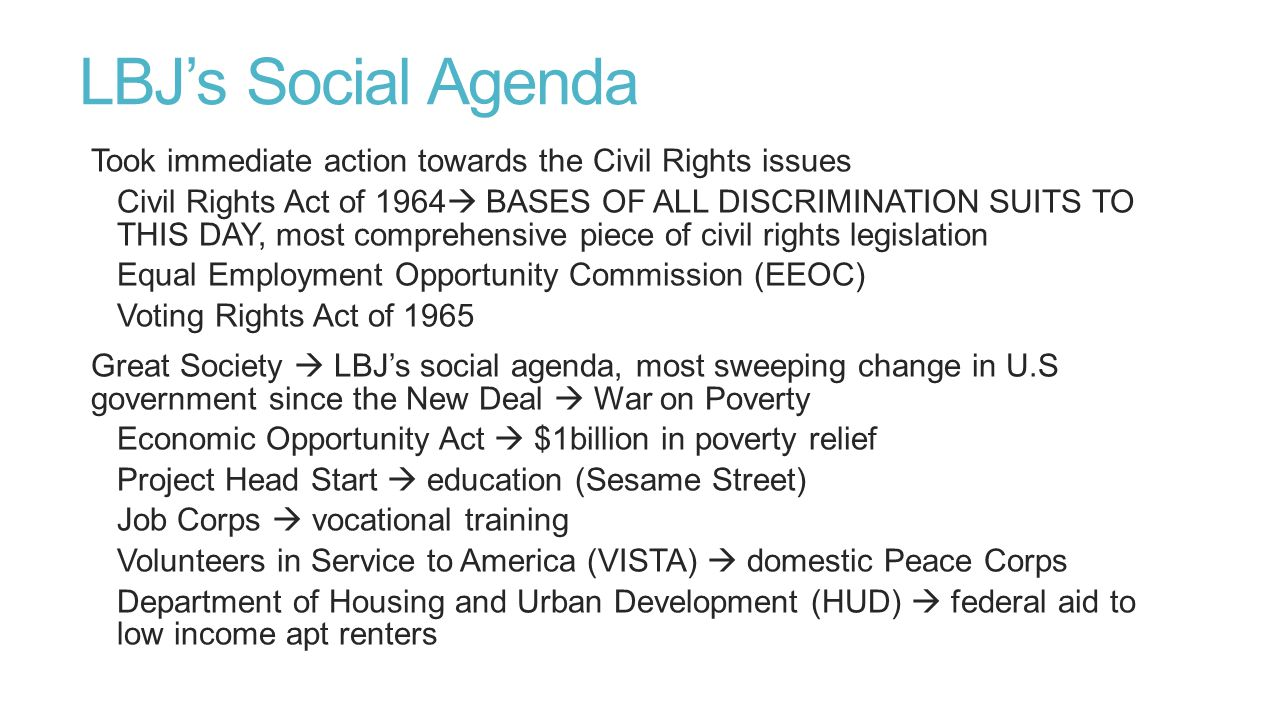 Civil Rights Movements 1960's number of substantial gains  Great Society  Governmental Support Supreme Court victories under Chief Justice Earl Warren  Warren Court  extremely liberal Enforced voting rights for blacks Withdraw congressional districts  more representation for minorities Prayer prohibited in school Rights of the accused  Gideon v.