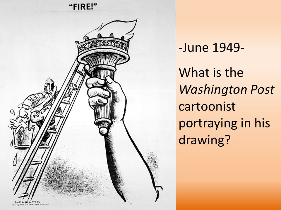 -June 1949- What is the Washington Post cartoonist portraying in his drawing?