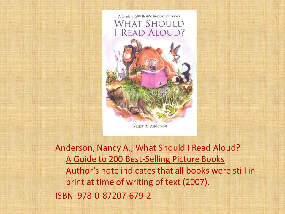 Anderson, Nancy A., What Should I Read Aloud.