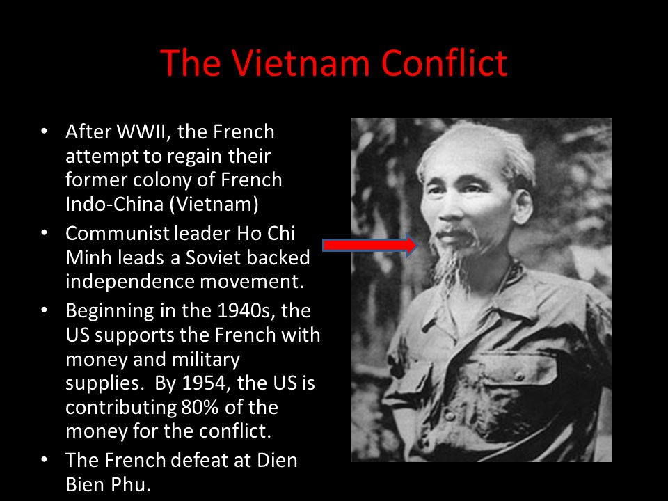 The Vietnam Conflict After WWII, the French attempt to regain their former colony of French Indo-China (Vietnam) Communist leader Ho Chi Minh leads a