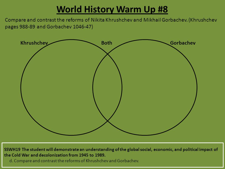 World History Warm Up #8 Compare and contrast the reforms of Nikita Khrushchev and Mikhail Gorbachev.
