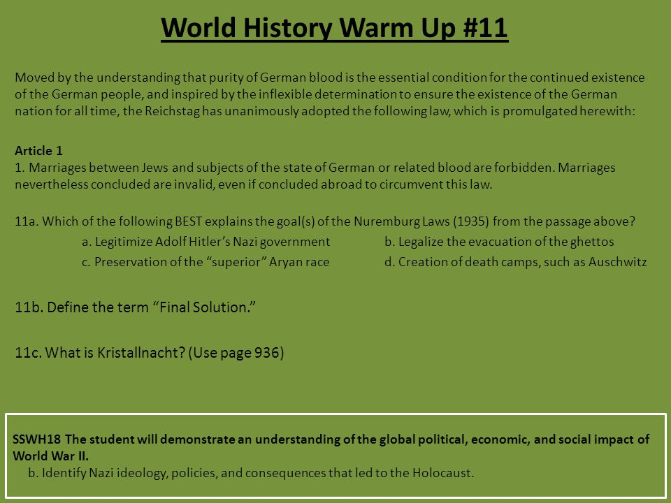 SSWH18 The student will demonstrate an understanding of the global political, economic, and social impact of World War II.