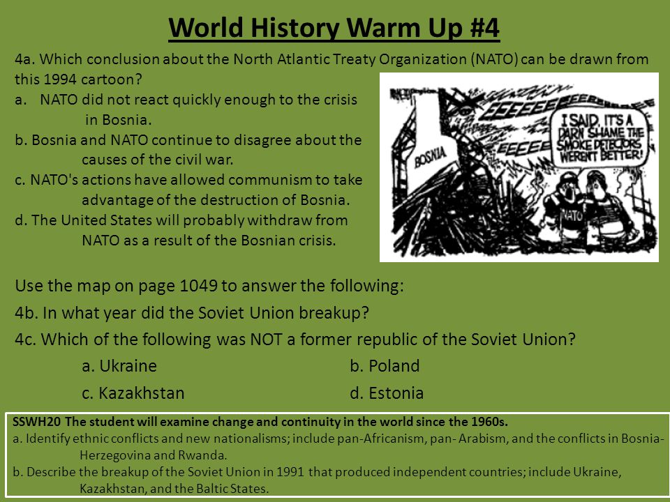 World History Warm Up #4 4a.