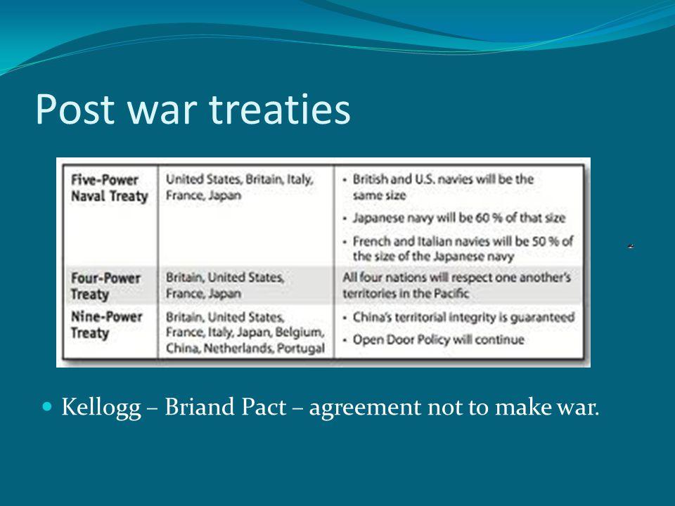 Post war treaties Kellogg – Briand Pact – agreement not to make war.