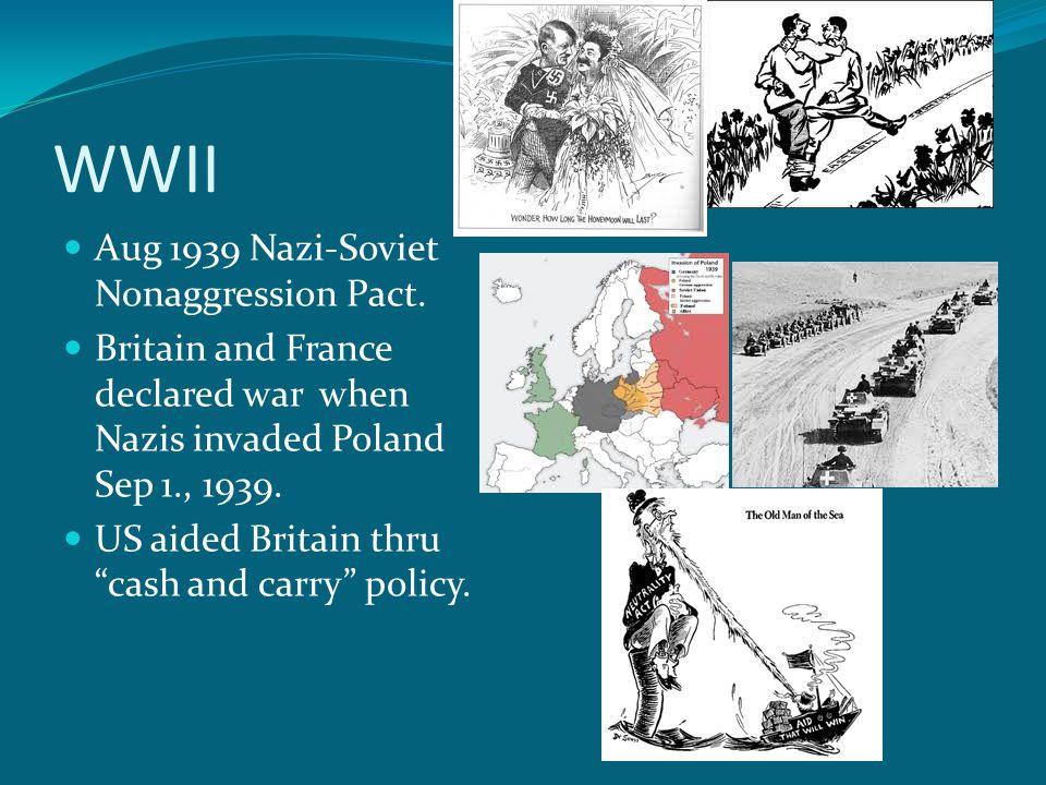 WWII Aug 1939 Nazi-Soviet Nonaggression Pact.