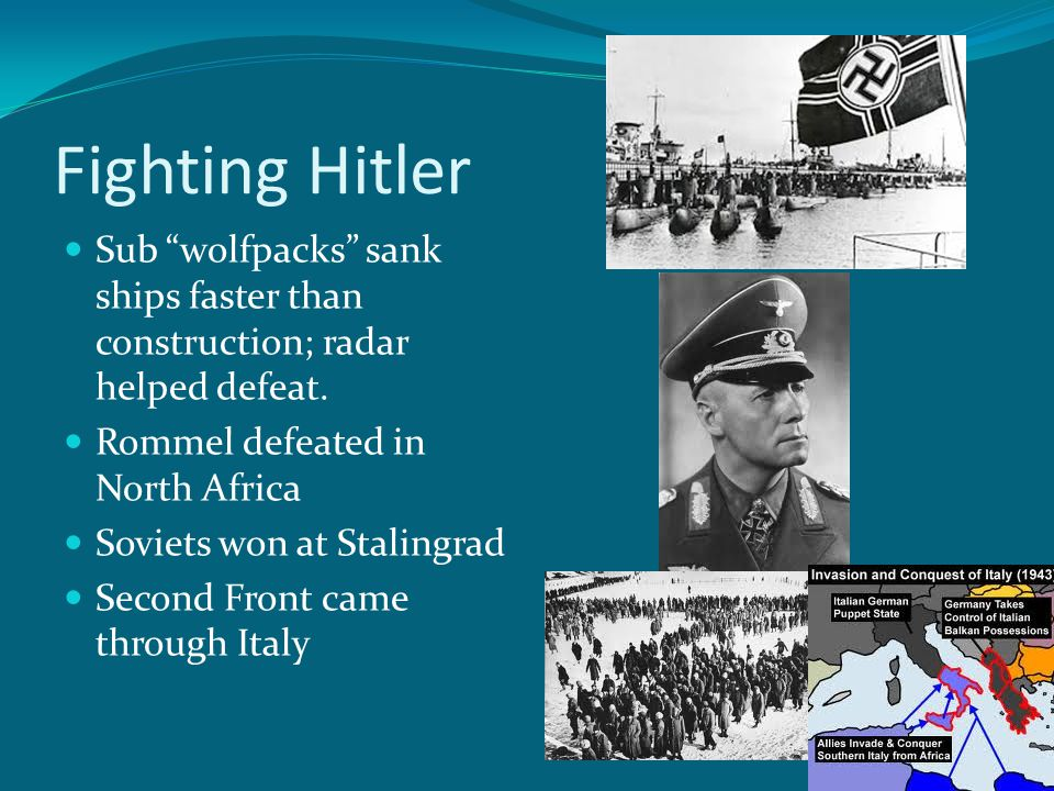 Fighting Hitler Sub wolfpacks sank ships faster than construction; radar helped defeat.