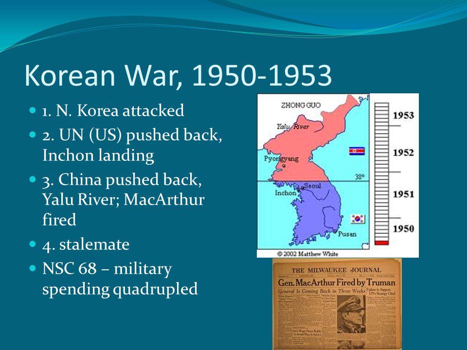 Korean War, 1950-1953 1. N. Korea attacked 2. UN (US) pushed back, Inchon landing 3.