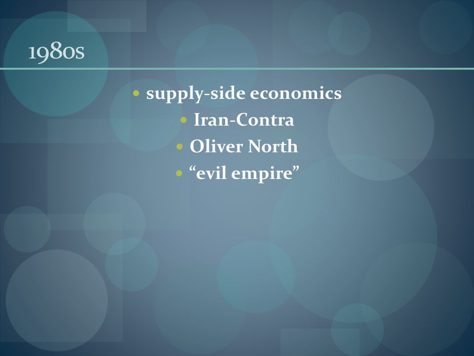 1980s supply-side economics Iran-Contra Oliver North evil empire