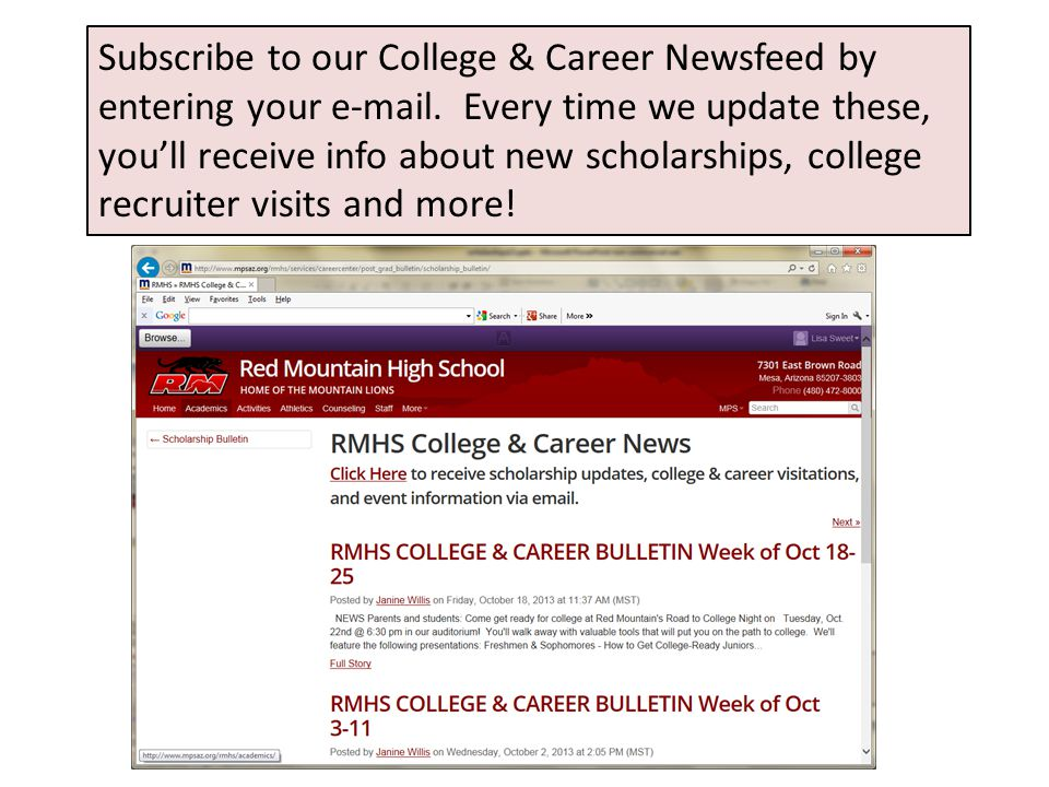 Subscribe to our College & Career Newsfeed by entering your e-mail. Every time we update these, you'll receive info about new scholarships, college re