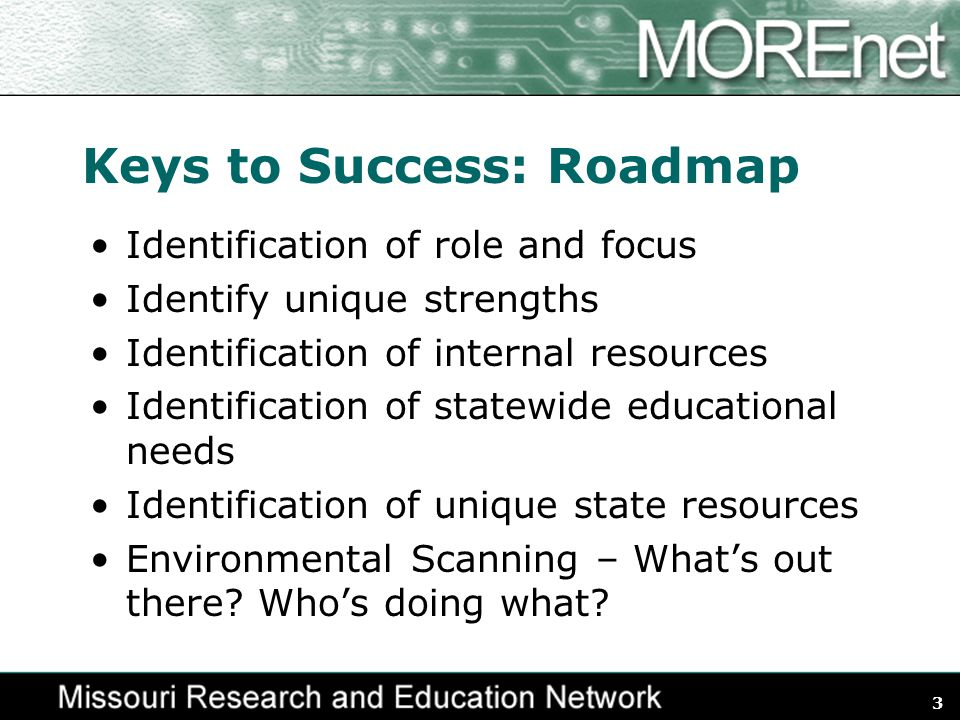 3 Keys to Success: Roadmap Identification of role and focus Identify unique strengths Identification of internal resources Identification of statewide