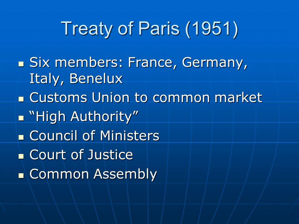 Treaty of Paris (1951) Six members: France, Germany, Italy, Benelux Six members: France, Germany, Italy, Benelux Customs Union to common market Custom