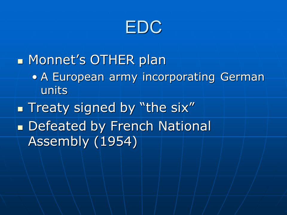 "EDC Monnet's OTHER plan Monnet's OTHER plan A European army incorporating German unitsA European army incorporating German units Treaty signed by ""the"