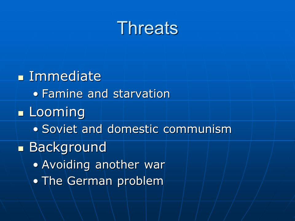 Threats Immediate Immediate Famine and starvationFamine and starvation Looming Looming Soviet and domestic communismSoviet and domestic communism Back