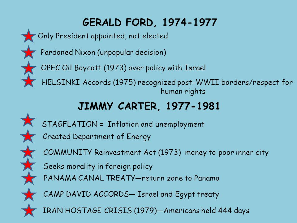 GERALD FORD, 1974-1977 Only President appointed, not elected JIMMY CARTER, 1977-1981 Pardoned Nixon (unpopular decision) STAGFLATION = Inflation and u