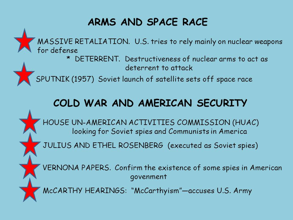 ARMS AND SPACE RACE MASSIVE RETALIATION. U.S. tries to rely mainly on nuclear weapons for defense * DETERRENT. Destructiveness of nuclear arms to act