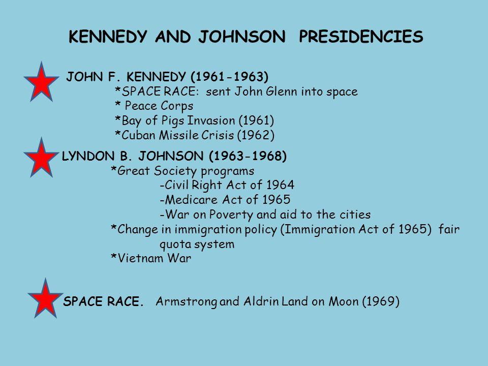KENNEDY AND JOHNSON PRESIDENCIES JOHN F. KENNEDY (1961-1963) *SPACE RACE: sent John Glenn into space * Peace Corps *Bay of Pigs Invasion (1961) *Cuban