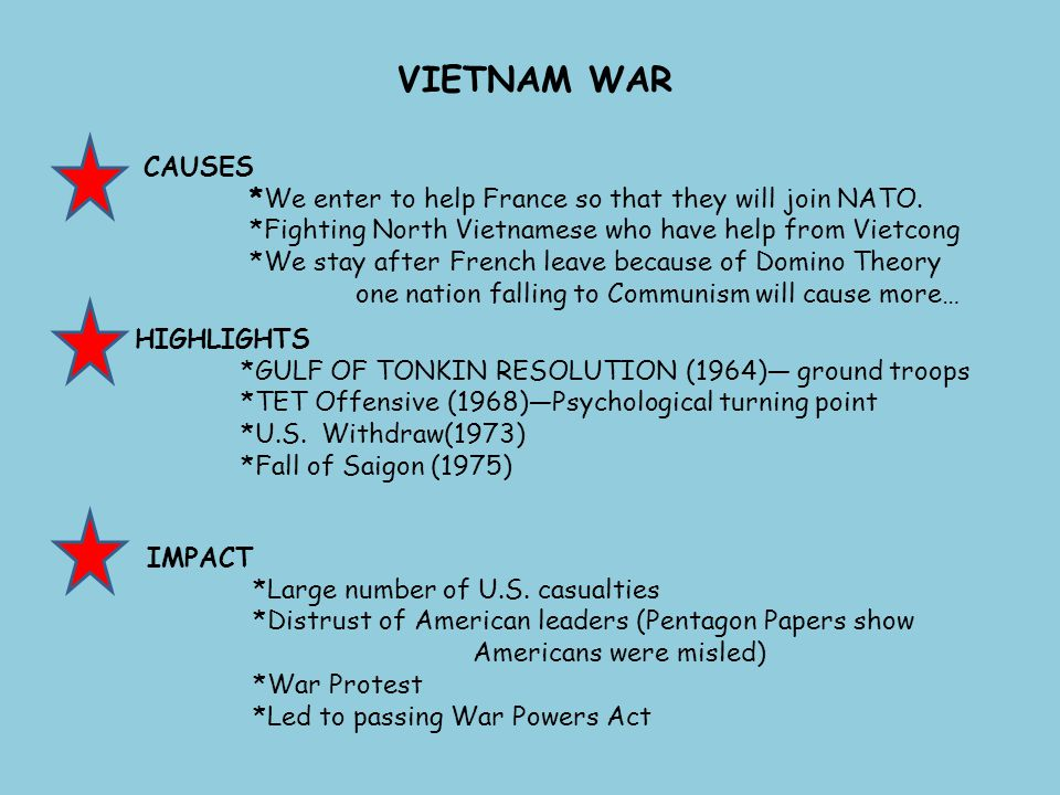 VIETNAM WAR CAUSES *We enter to help France so that they will join NATO. *Fighting North Vietnamese who have help from Vietcong *We stay after French