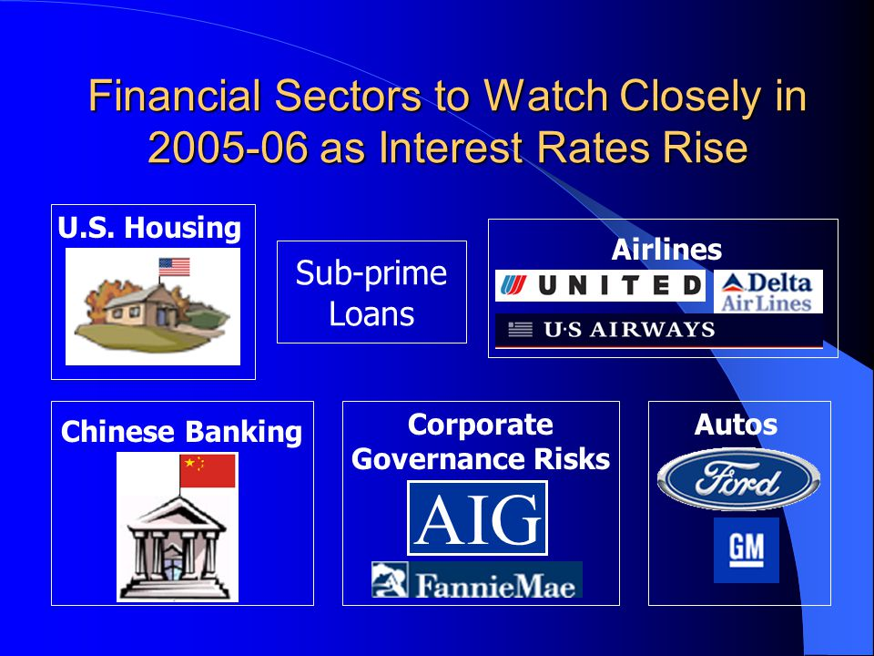 Financial Sectors to Watch Closely in 2005-06 as Interest Rates Rise AIG Sub-prime Loans Airlines U.S. Housing Chinese Banking Corporate Governance Ri