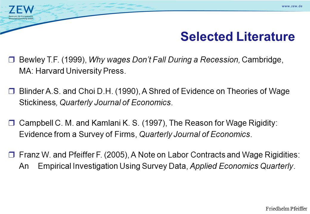 Selected Literature  Bewley T.F.