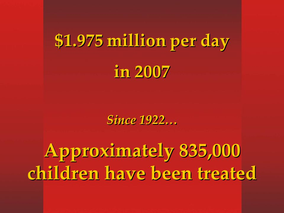 $1.975 million per day in 2007 Since 1922… Approximately 835,000 children have been treated $1.975 million per day in 2007 Since 1922… Approximately 835,000 children have been treated