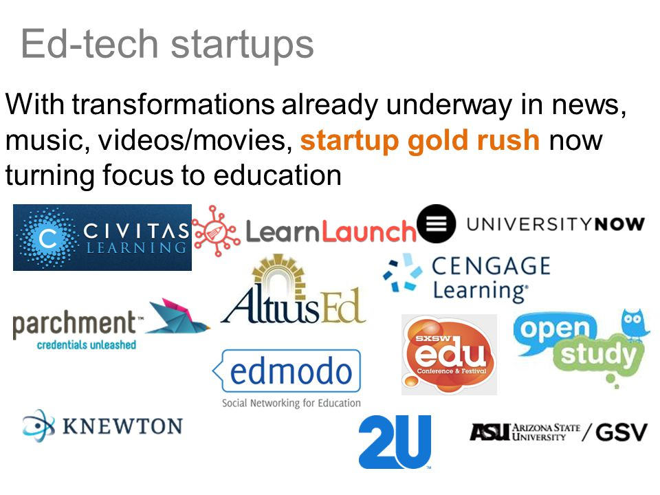 Ed-tech startups With transformations already underway in news, music, videos/movies, startup gold rush now turning focus to education