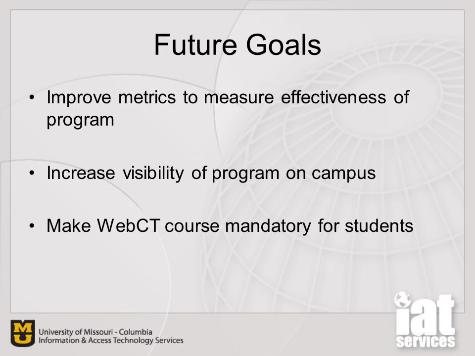 Future Goals Improve metrics to measure effectiveness of program Increase visibility of program on campus Make WebCT course mandatory for students