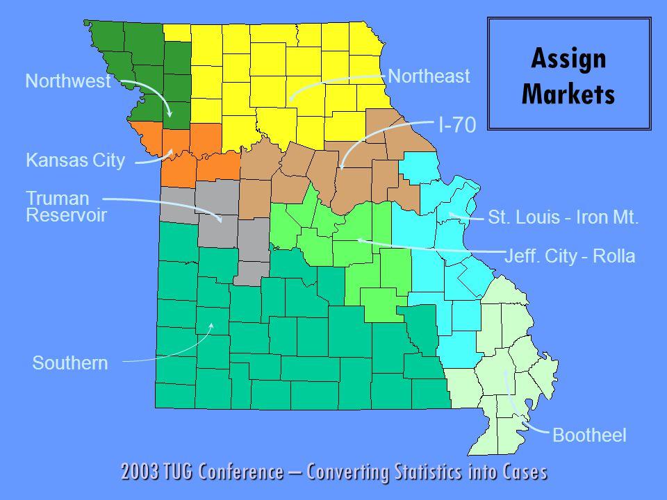 2003 TUG Conference – Converting Statistics into Cases MARIES Truman Reservoir Kansas City Northwest I-70 St. Louis - Iron Mt. Assign Markets Northeas