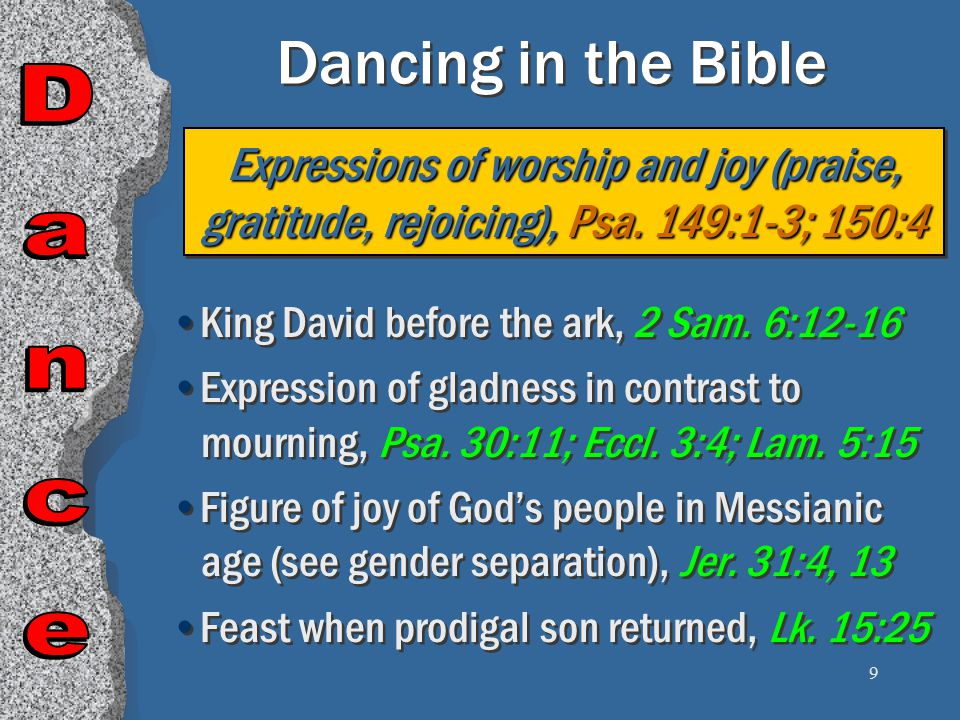 20 Dancing is Lascivious 1 John 2:15-17 Here is your answer: In a survey a group of men were asked to raise their hands if they could dance and not have evil thoughts and desires.