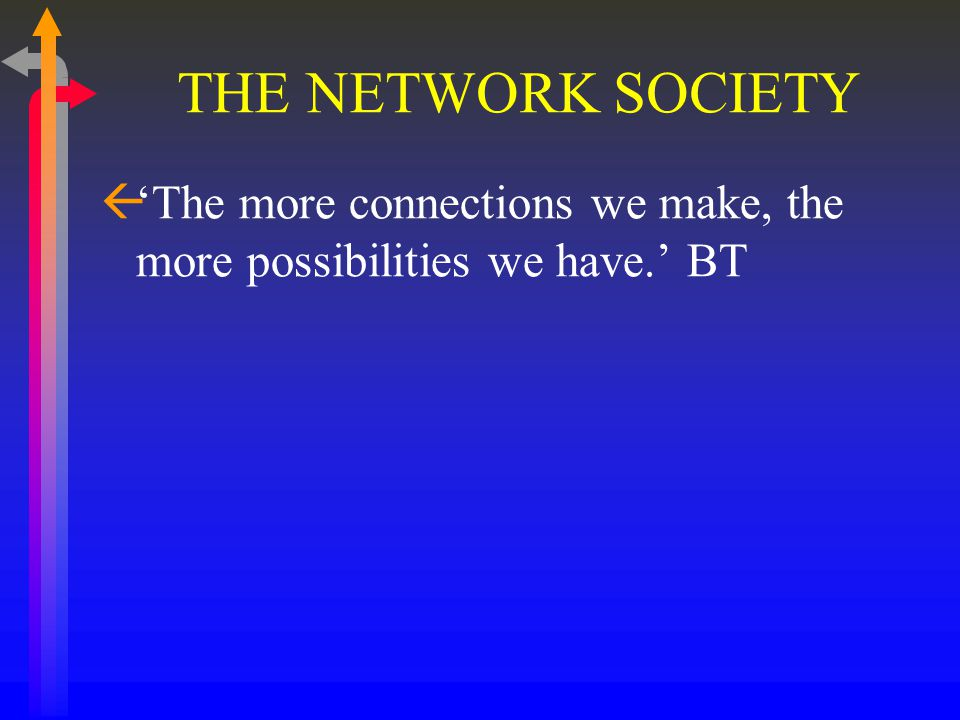 THE NETWORK SOCIETY ß'The more connections we make, the more possibilities we have.' BT