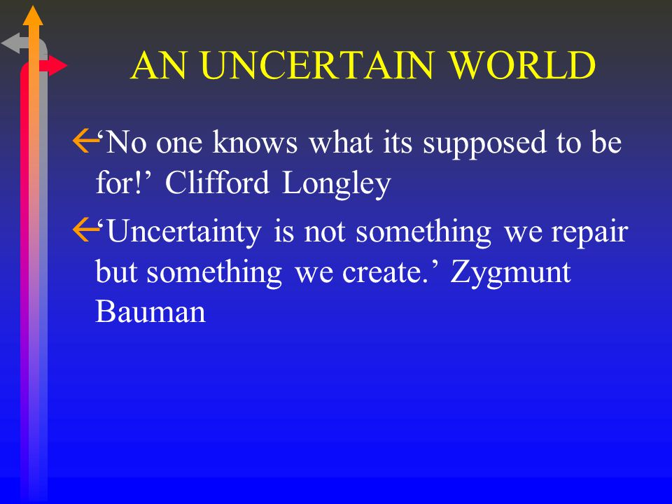 AN UNCERTAIN WORLD ß'No one knows what its supposed to be for!' Clifford Longley ß'Uncertainty is not something we repair but something we create.' Zygmunt Bauman