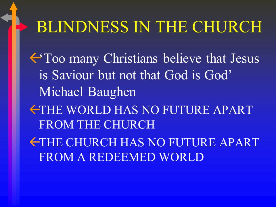 BLINDNESS IN THE CHURCH ß'Too many Christians believe that Jesus is Saviour but not that God is God' Michael Baughen ßTHE WORLD HAS NO FUTURE APART FROM THE CHURCH ßTHE CHURCH HAS NO FUTURE APART FROM A REDEEMED WORLD
