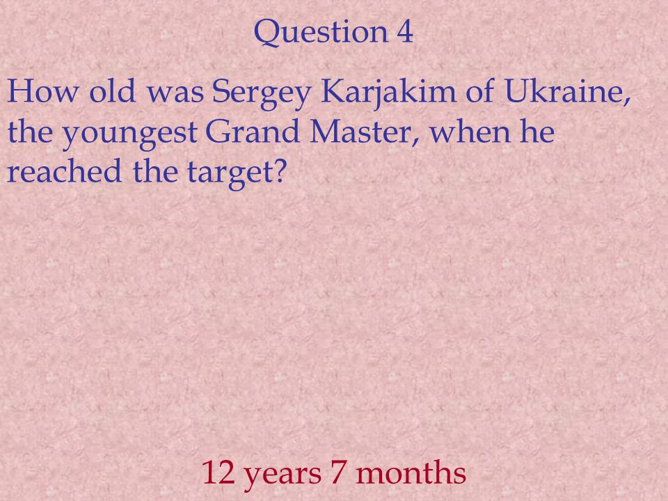 Question 5 The youngest Indian to achieve IM norm Parimarjan Negi