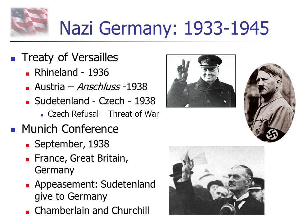 Nazi Germany: 1933-1945 Treaty of Versailles Rhineland - 1936 Austria – Anschluss -1938 Sudetenland - Czech - 1938 Czech Refusal – Threat of War Munic