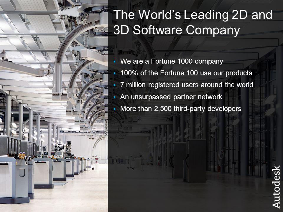 2© 2006 Autodesk The World's Leading 2D and 3D Software Company  We are a Fortune 1000 company  100% of the Fortune 100 use our products  7 million registered users around the world  An unsurpassed partner network  More than 2,500 third-party developers