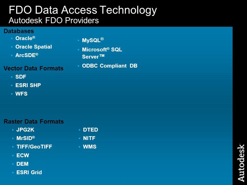 28 FDO Data Access Technology Autodesk FDO Providers  SDF  ESRI SHP  WFS Vector Data Formats  JPG2K  MrSID ®  TIFF/GeoTIFF  ECW  DEM  ESRI Gr
