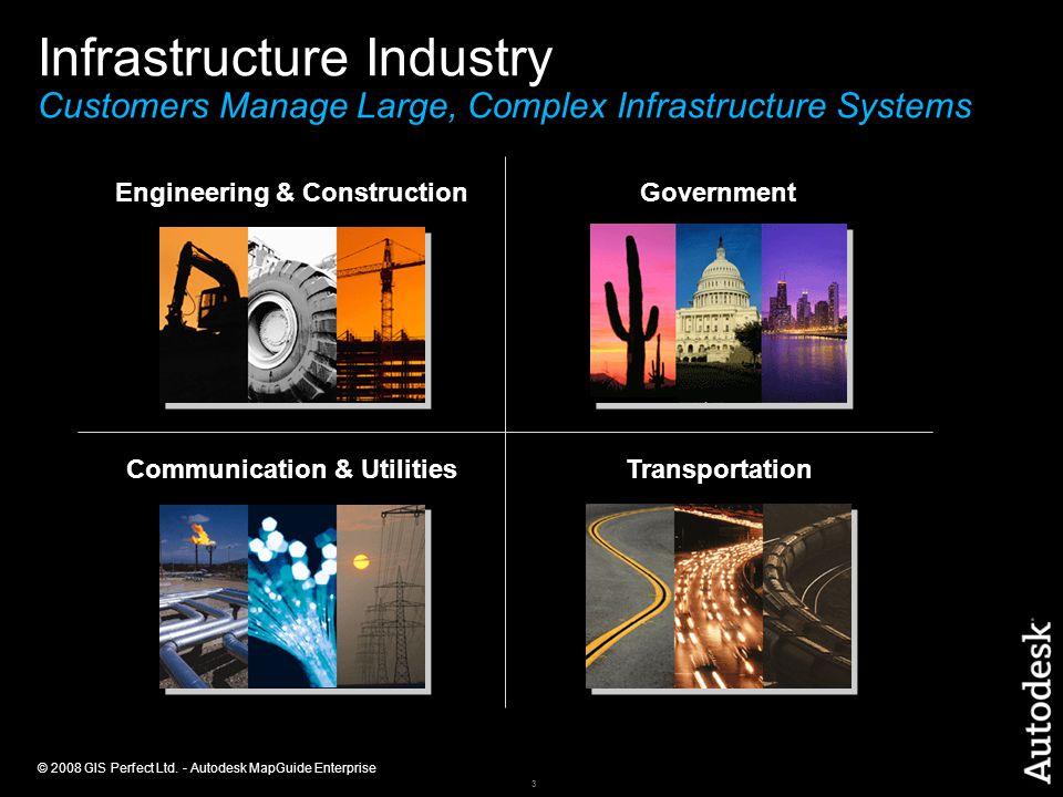 3 © 2008 GIS Perfect Ltd. - Autodesk MapGuide Enterprise Communication & Utilities Engineering & ConstructionGovernment Transportation Infrastructure
