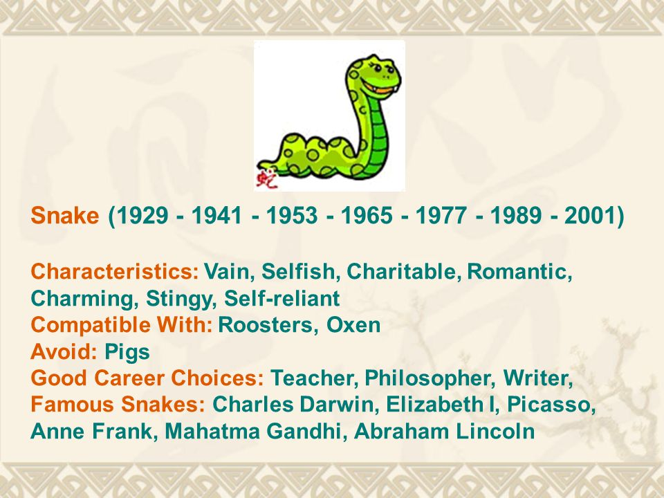Dragon (1928 - 1940 - 1952 - 1964 - 1976 - 1988 - 2000) Characteristics: Energetic, Short-tempered, Stubborn, Honest, Sensitive, Trust-worthy, Popular, Intelligent Compatible With: Monkeys, Rats Avoid: Dogs Good Career Choices: Priest, Artist, Writer Famous Dragons: Joan of Arc, Pearl Buck, Sigmund Freud, John Lennon, Florence Nightingale
